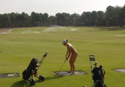Nude on a golf cours
