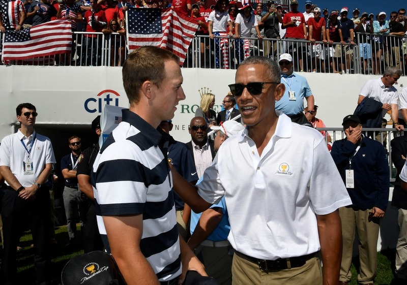 Barack Obama shares a candid moment with Jordan Spieth