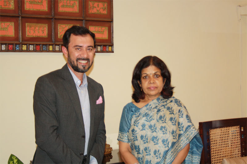 Dinesh Thakur, Founder and CEO of 4moles.com with Rashmi Verma, Secretary Tourism