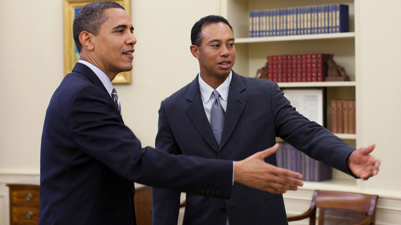 Obama with Tiger Woods