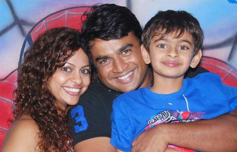 R madhavan with wife and son
